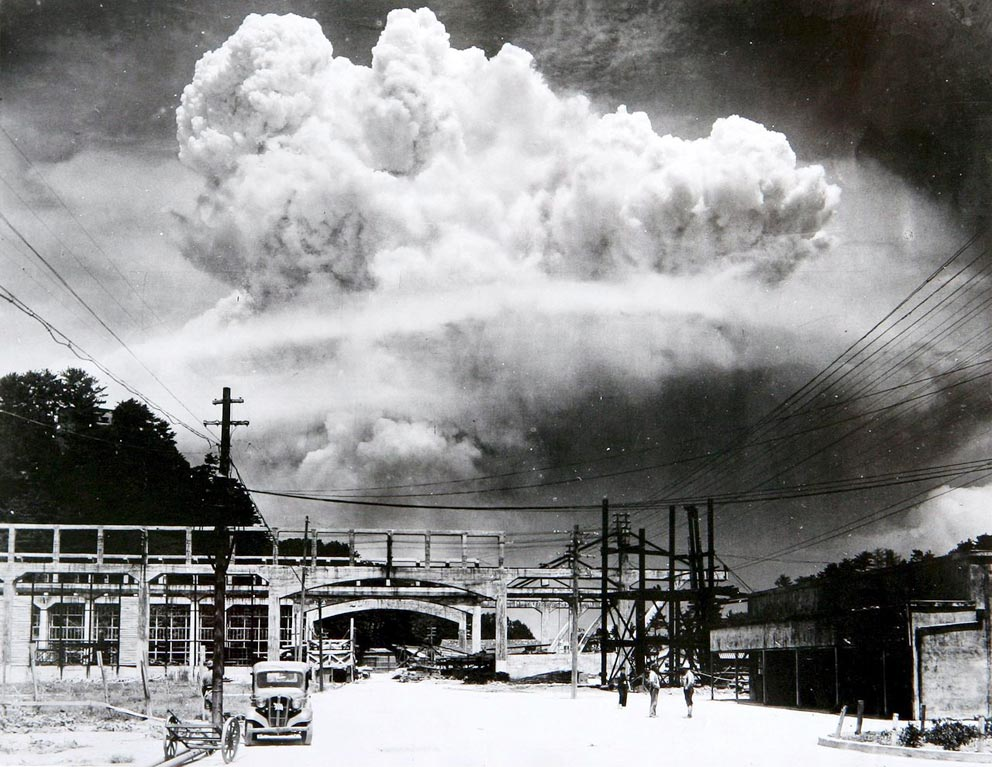 Atomkrieg: Atomic cloud over Nagasaki from Koyagi-jima by Hiromichi Matsuda (9. August 1945)