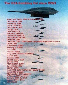 The USA bombing list since WW2