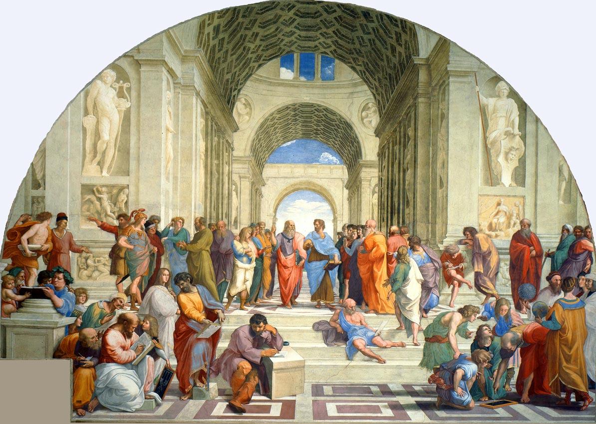 Die Schule (der Philosophen) von Athen, Raffael, 1511. Im antiken Griechenland stand Philosophie noch im Dienst der Erweckung der gnostische Kraft der Seele.