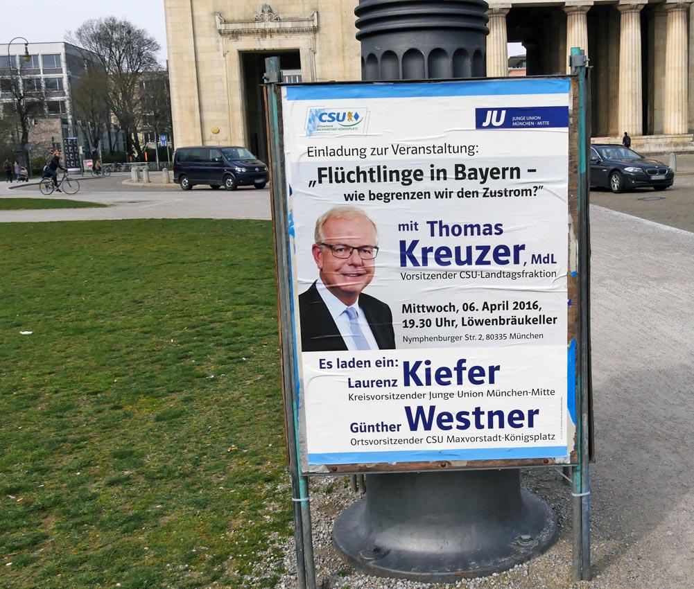 CSU-Werbung, Frühjahr 2016, München: Irreführung oder pathologische Unkenntis der mutmaßlichen Absichten der Führerin von Koalitionspartner CDU; der Vermischung der Deutschen? Bild: HEINZ KNOTEK/TrinosophieBlog